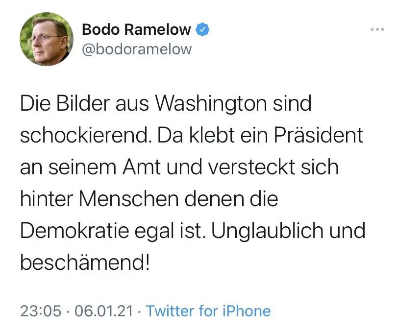 Mittlerweile gelöschter Tweet Ramelows zu Trump